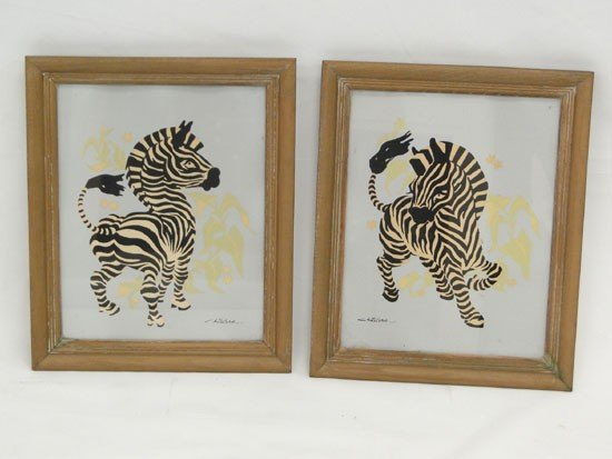 175: 2 1950s watercolors of zebras signed Childers - Es