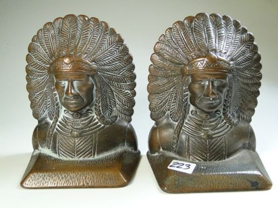 223: Bronze Indian head book ends signed Verona - Est.