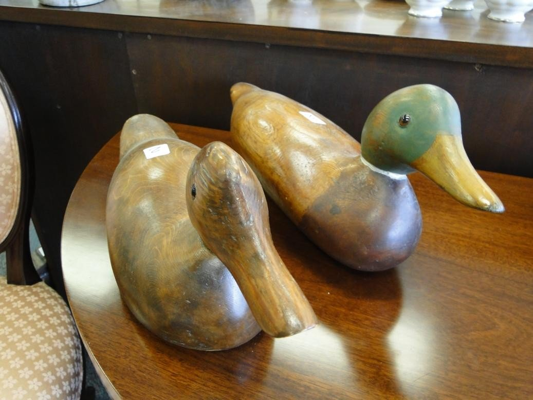 2: Two antique hand carved duck decoys with glass eyes
