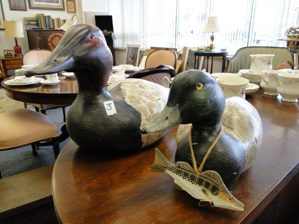 3: Two contemporary hand carved and painted duck decoys