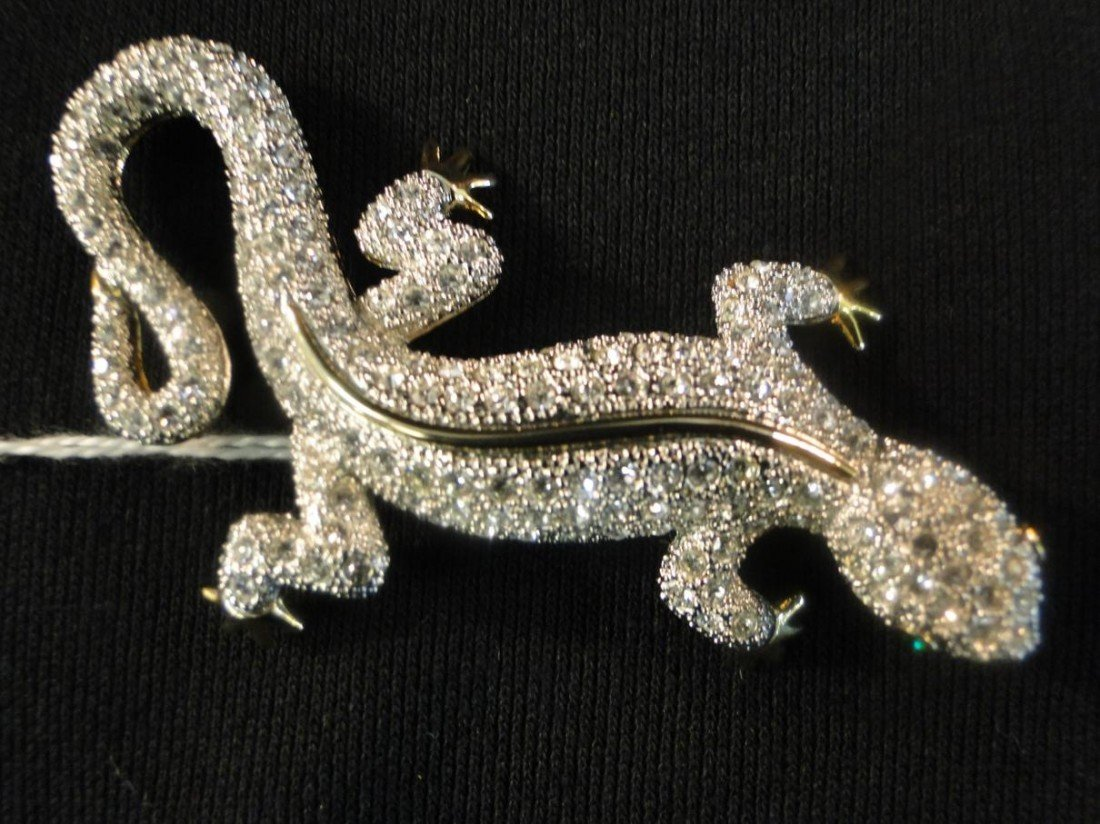6: Quality crystal incrusted salamander broach (in the
