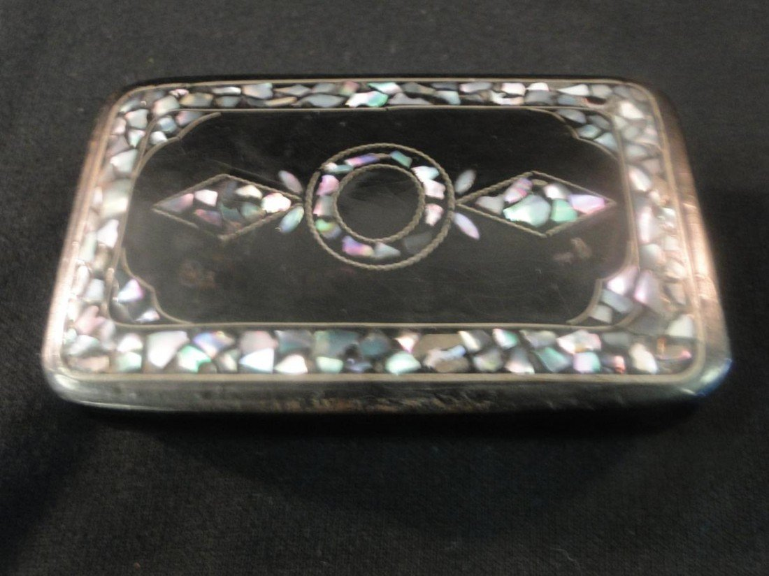8: 1850-1860's lacquered and mother of pearl inlaid snu