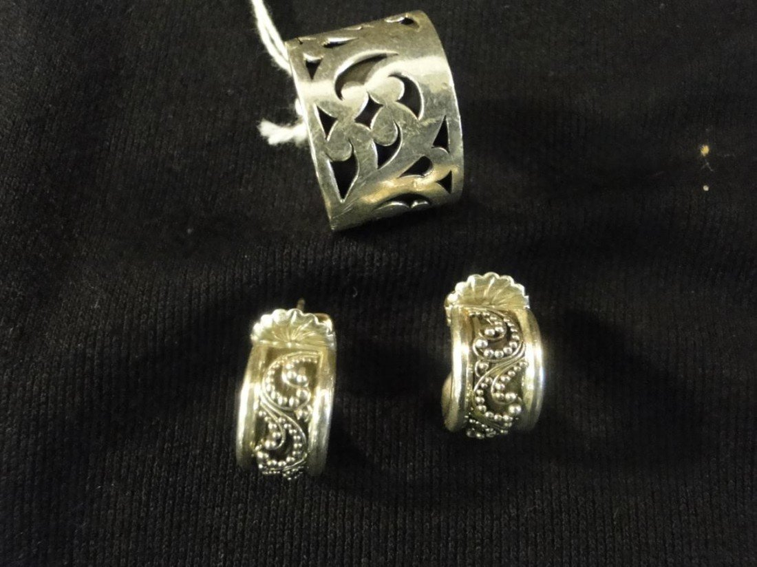 12: Sterling silver signed Lois Hill ring and matching