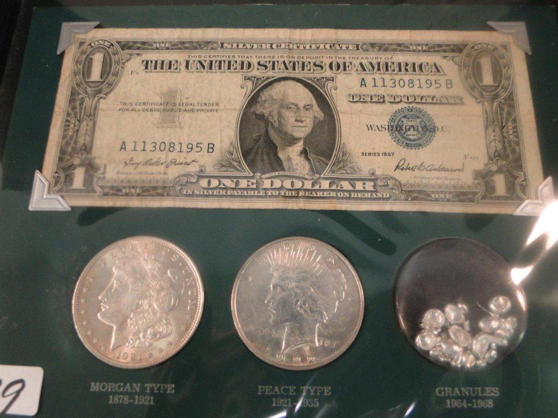 "19: Encased antique money entitled ""The Silver Story"" t"
