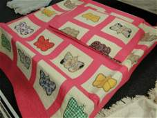 435: 2 big handmade quilts with butterfly design. Est.