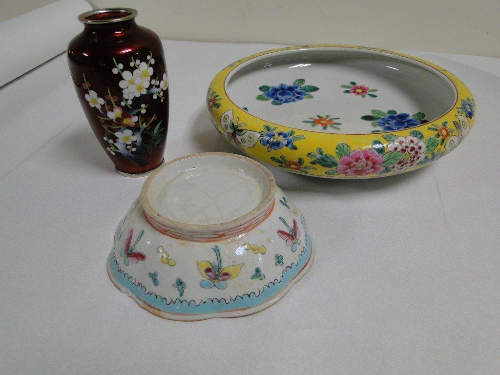 1: Cloisonné floral vase with oriental bowl & early han