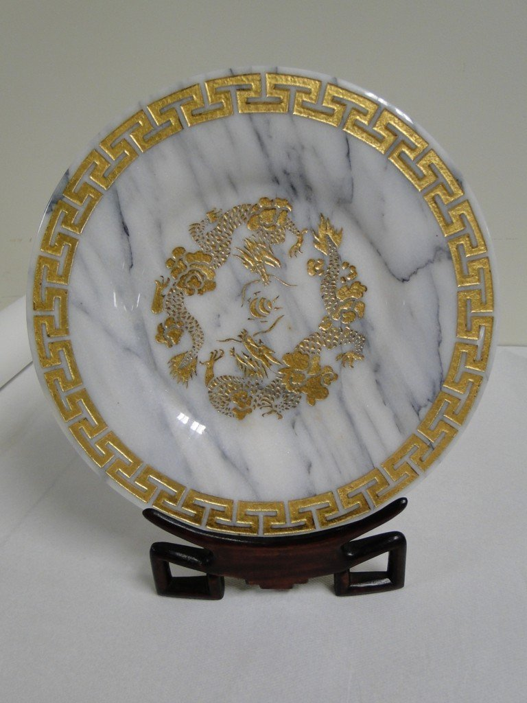"""2: Carved marble Oriental plate on stand; 13""""W"""