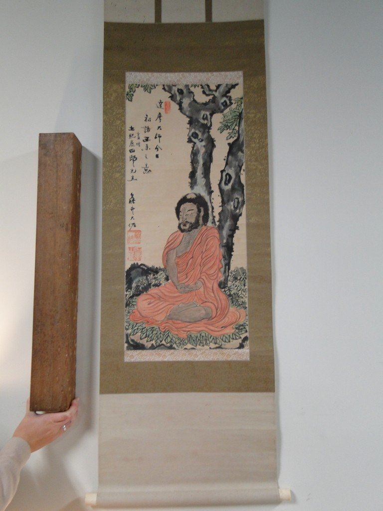 7: Mid 1800's Oriental watercolor scroll with original