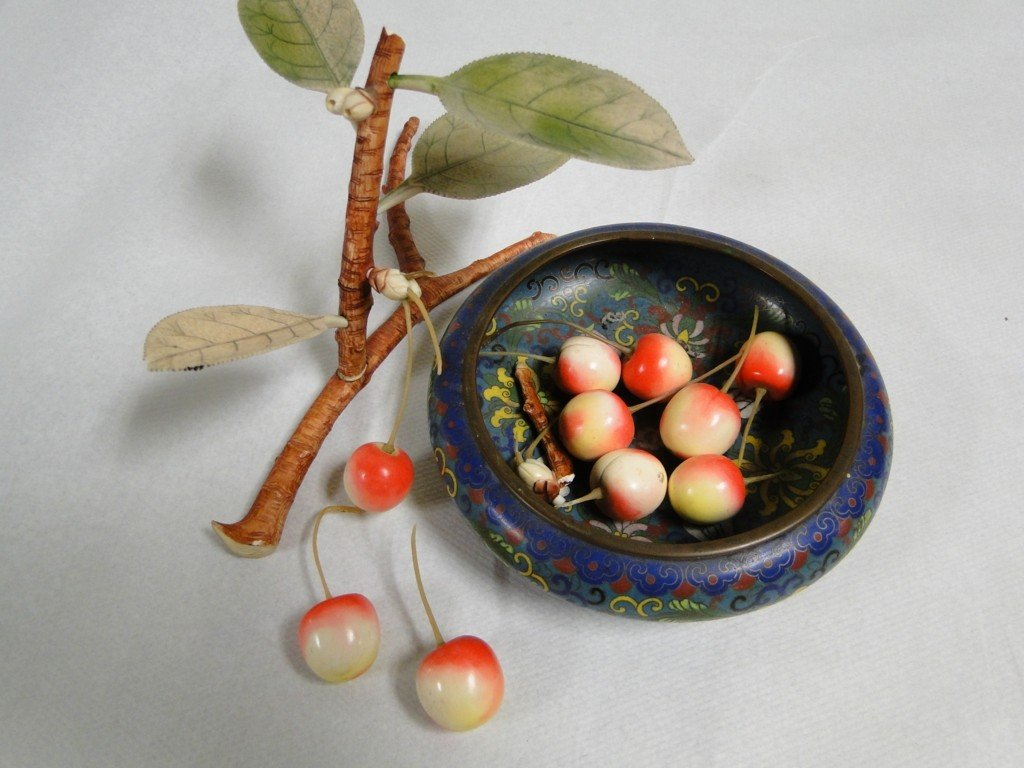 12: Hand carved ivory Oriental cherry blossom branch wi