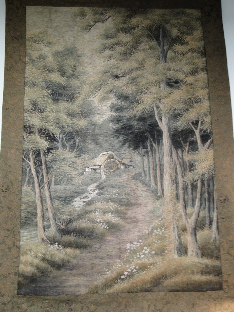 14: Immense 1800's silk embroidered Oriental tapestry w