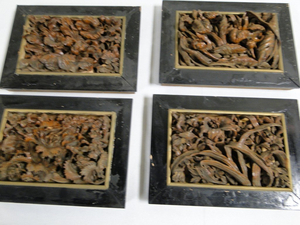 16: Group of 8 Chinese carved pecan wood 3D floral wall