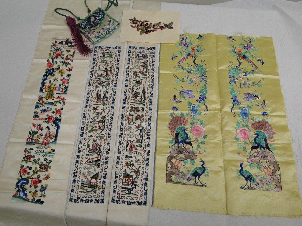 17: Elaborate Chinese embroidered panels hand blind sti