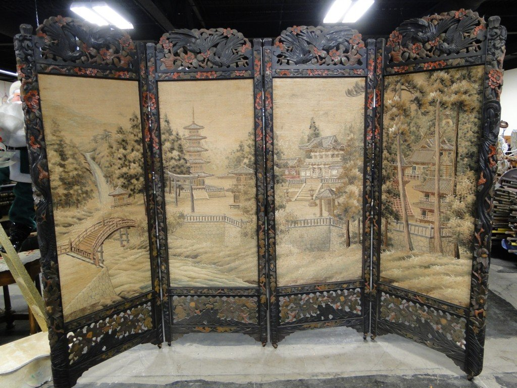 20: Four part pierced and hand carved Oriental screen i