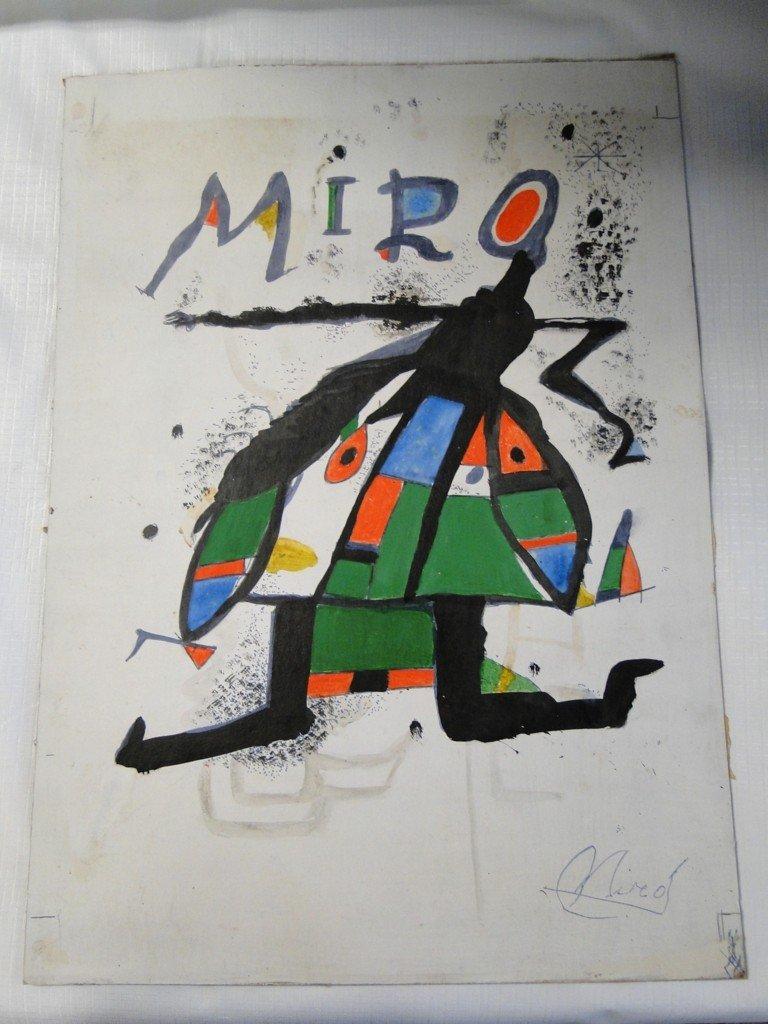 198: An original Miro water color depicting an abstract