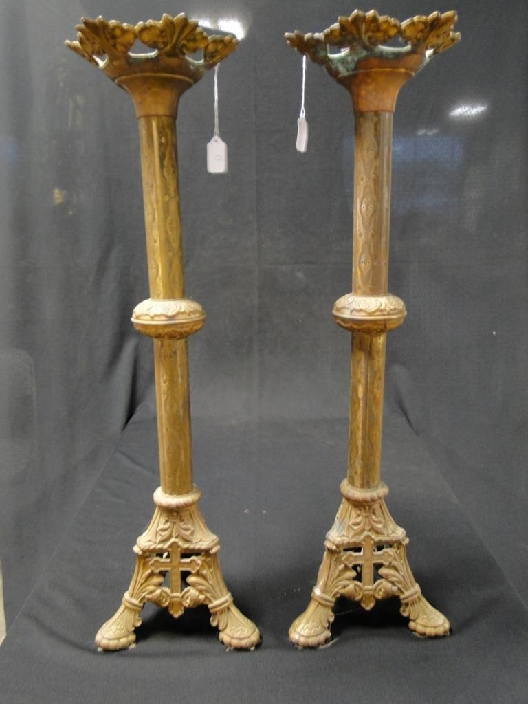 "1: Pair of bronze alter candle sticks; 30""H"