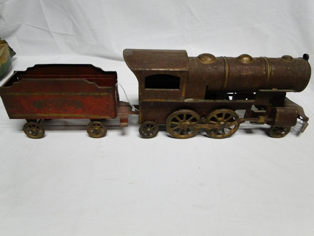 16: Outstanding Large Victorian tin painted train engin