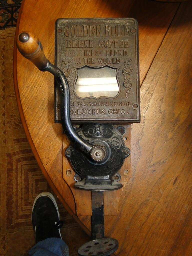 163: Antique wall mount coffee grinder