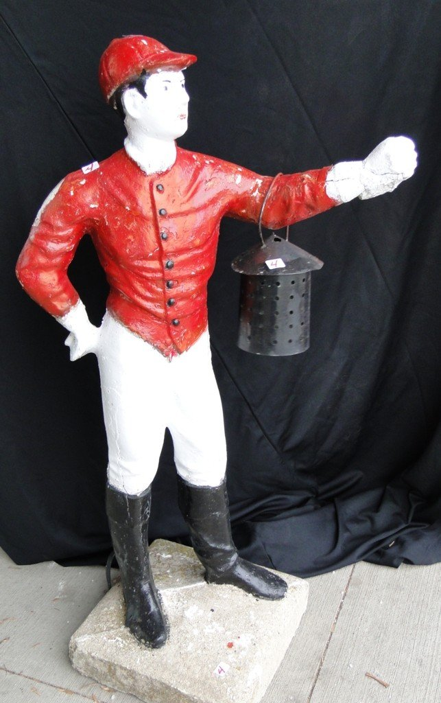 "4: Lawn jockey; 43""H (small chip on right shoulder and"