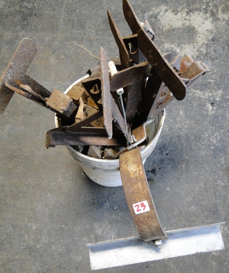 23: Bucket of roof brackets and misc.- PICK-UP ONLY/NO