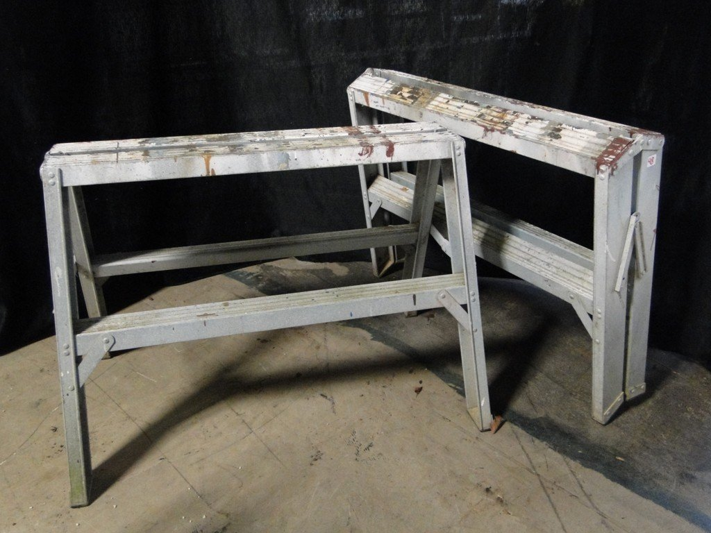 48: Pair of aluminum sawhorses - PICK-UP ONLY/NO SHIPPI