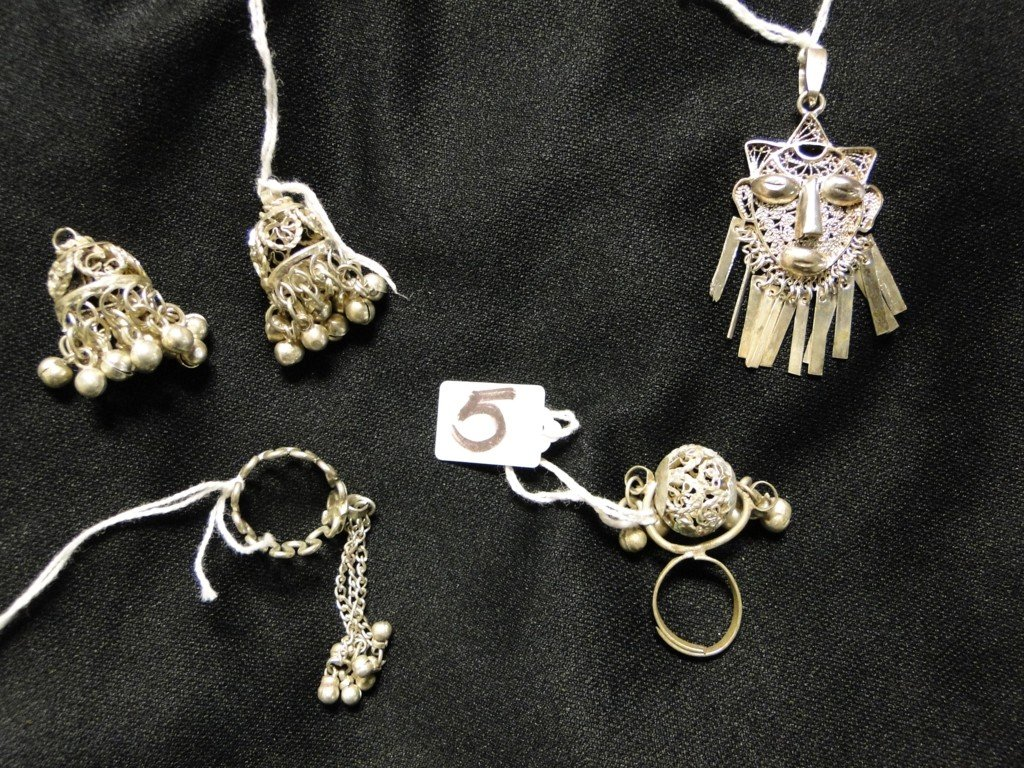 505: Group of Middle eastern silver jewelry to include