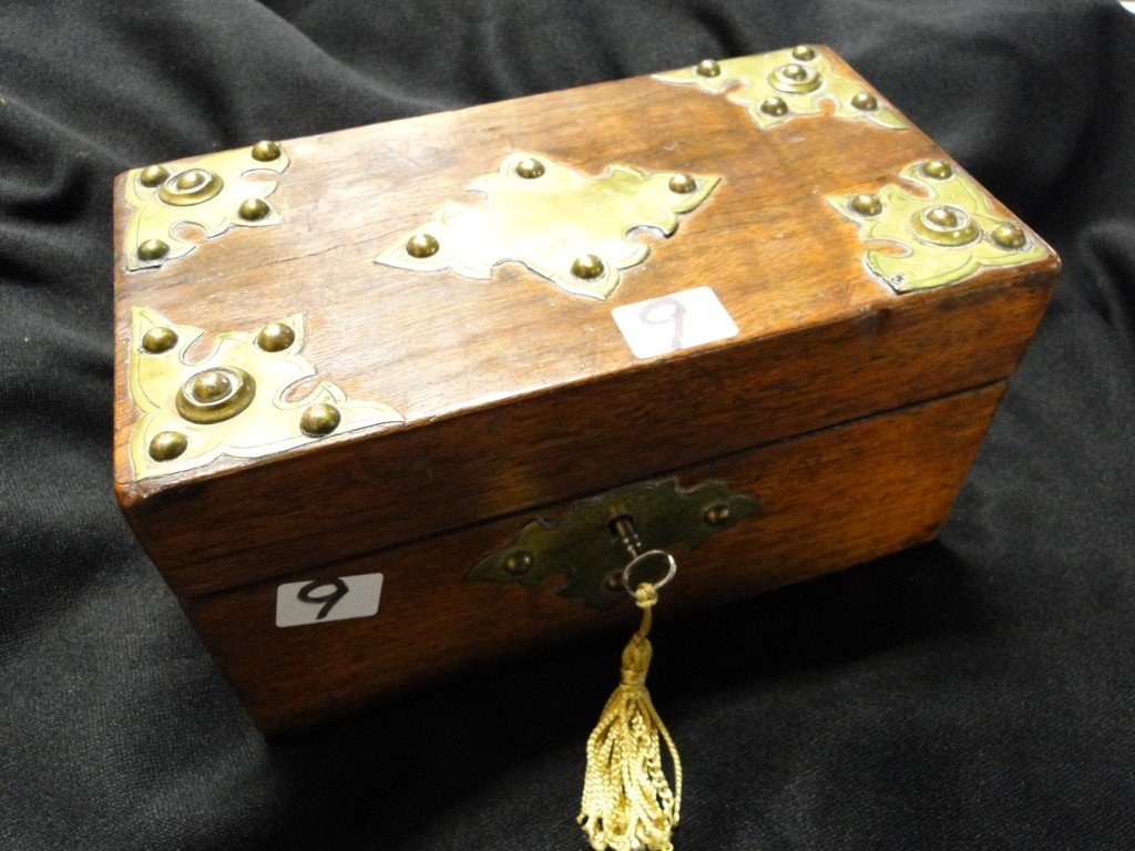 "509: Early brass trimmed treasure box; 8""Wx4""Dx4.5""H"