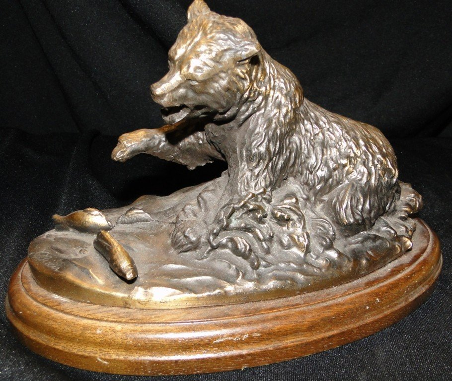 515: Bronze statue of a bear fishing, by Gallery Origin