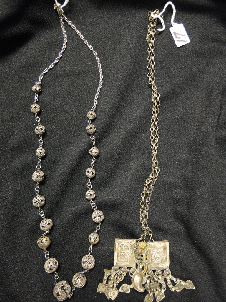 517: Two early Middle Eastern necklaces, possibly silve