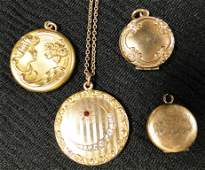 590 Group of four Victorian lockets one with art nouv