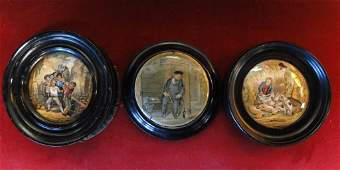 602 Three antique English porcelain framed wall plaque