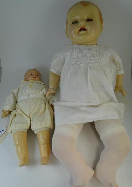 1: Two antique composition baby dolls, one life size, u