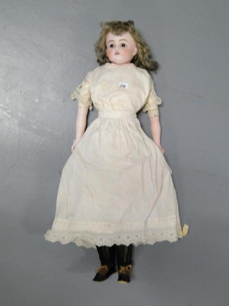 9: Unsigned turn-head Kestner doll with original clothe