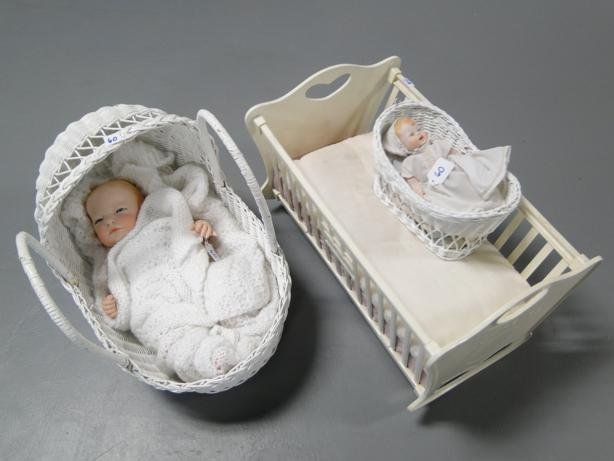 10: Group to include: Bisque baby doll (porcelain), con