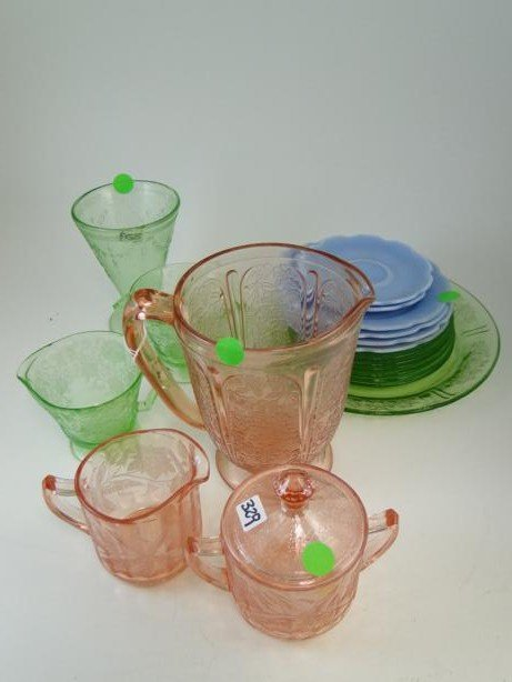 15: Large group of pink, green and blue depression glas