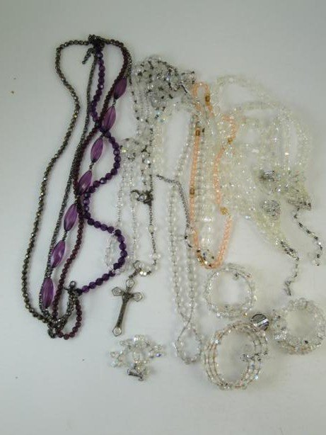 20: Crystal necklaces, bracelets, earrings and rosary