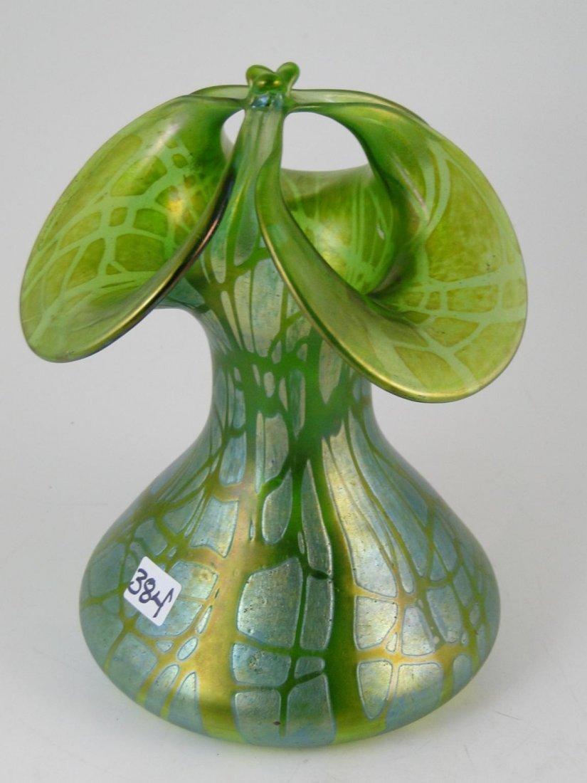 384: Unusual green loetz art glass vase.  Estimate $250