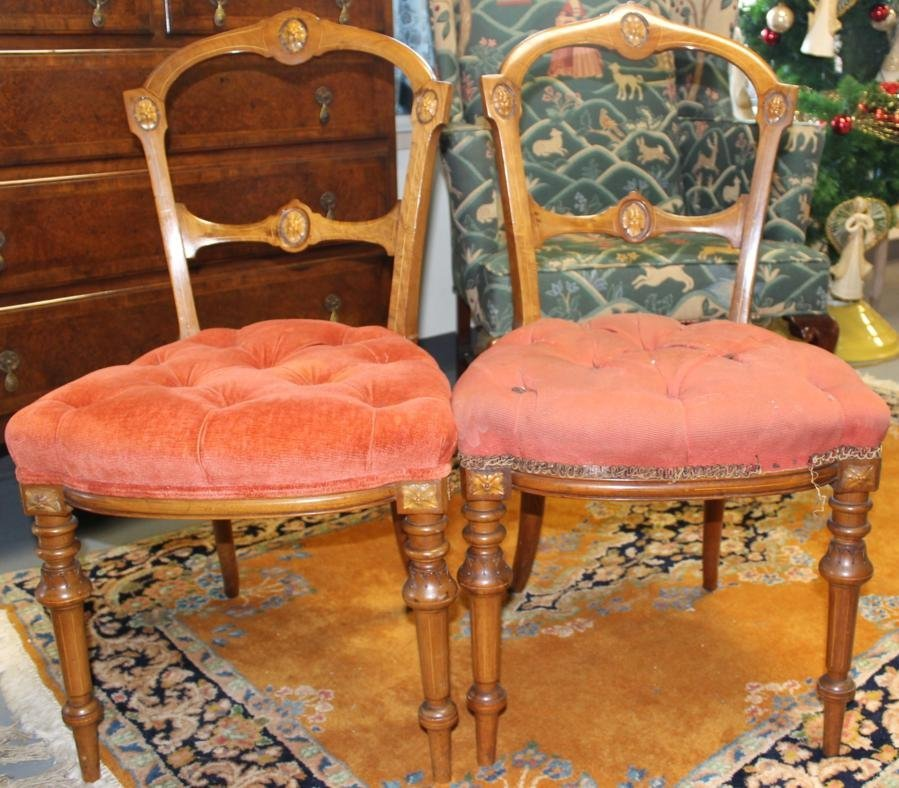 15: Pair of stunning mahogany hand carved Victorian sid