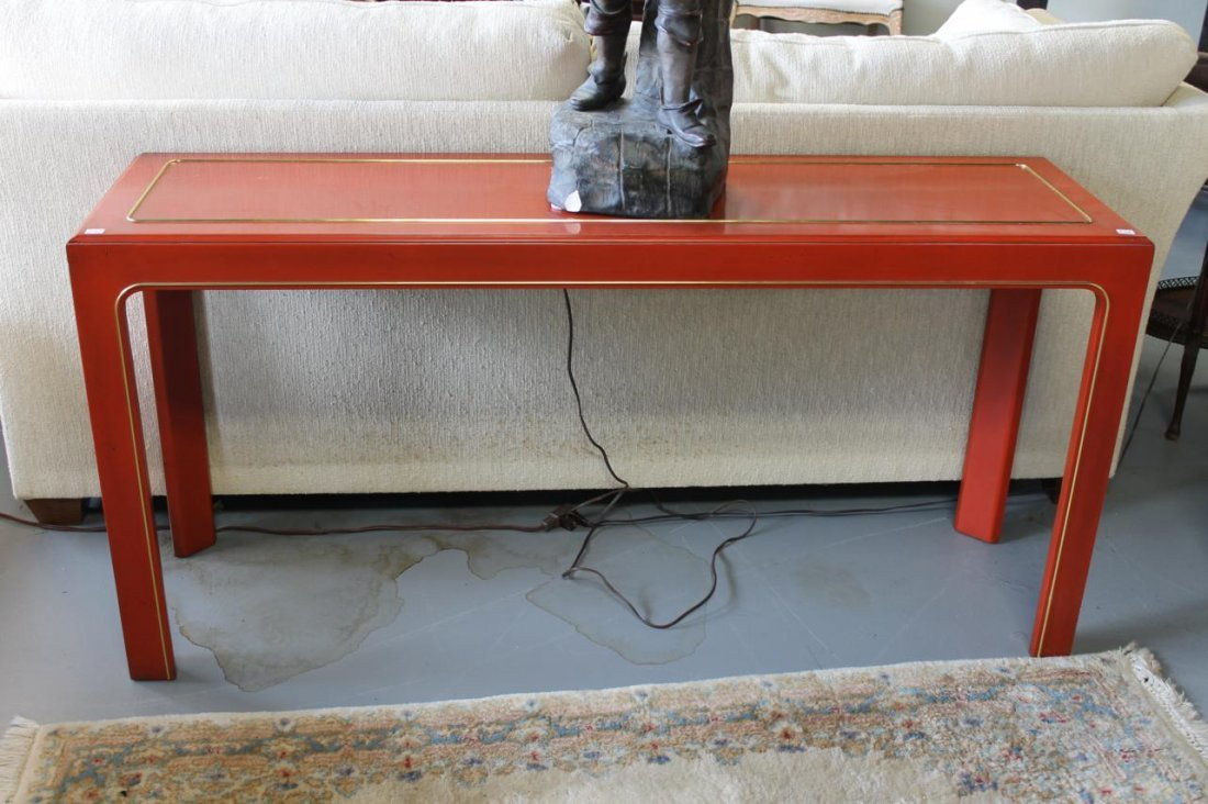 252: Red lacquer sofa table with brass string inlay