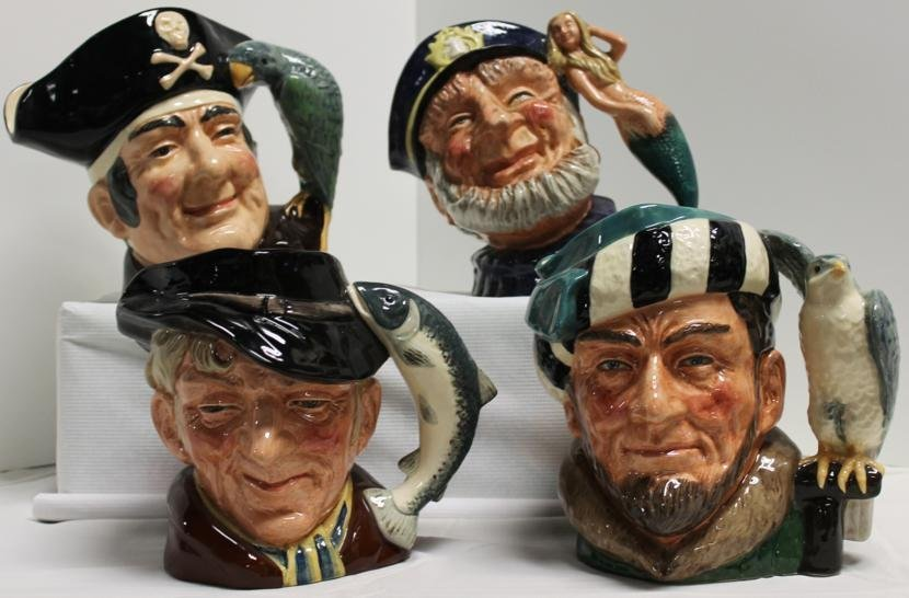 13: Lot of four Royal Doulton Toby mugs. 1.) Long John