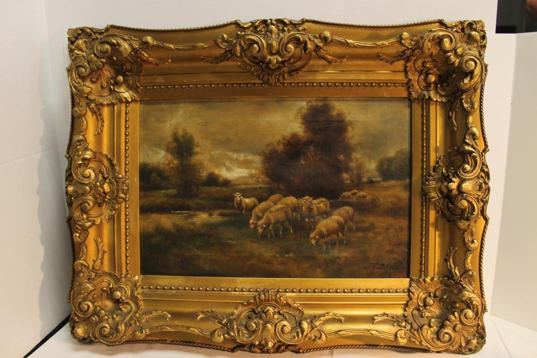 217: F. Brillet signed oil of a pastoral scene w/ sheep
