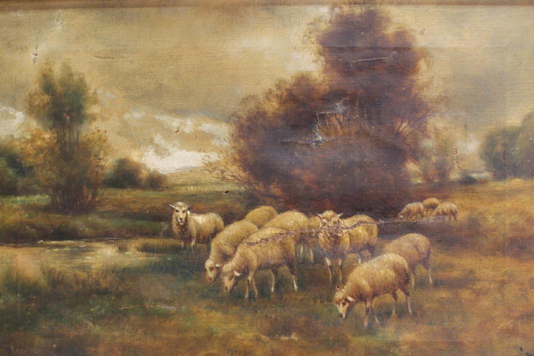 217: F. Brillet signed oil of a pastoral scene w/ sheep - 2