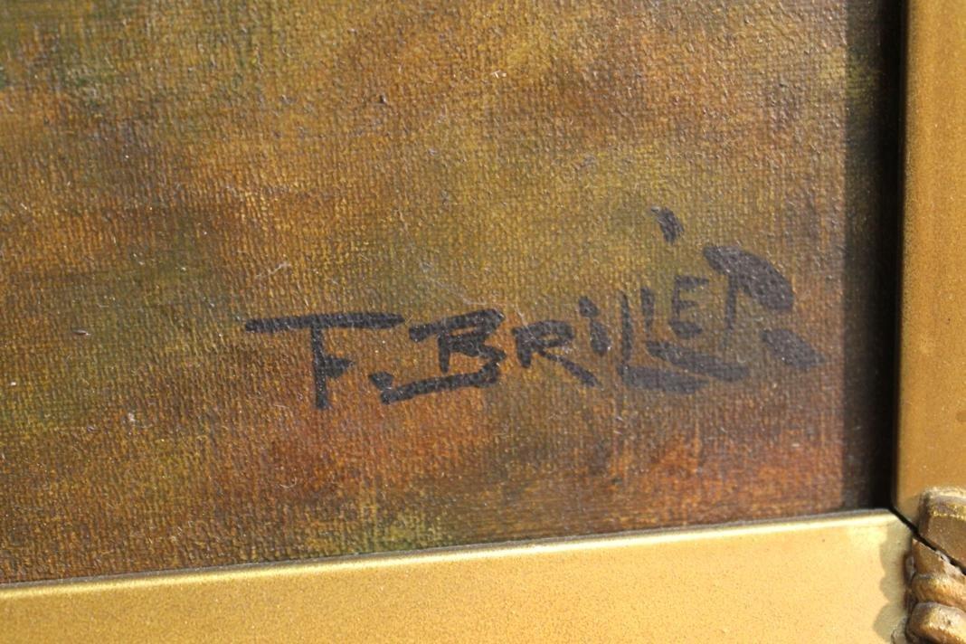 217: F. Brillet signed oil of a pastoral scene w/ sheep - 3