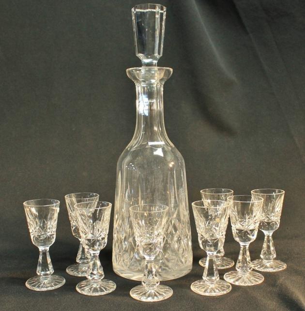 2: Waterford crystal Lismore decanter, 8 Waterford Lism
