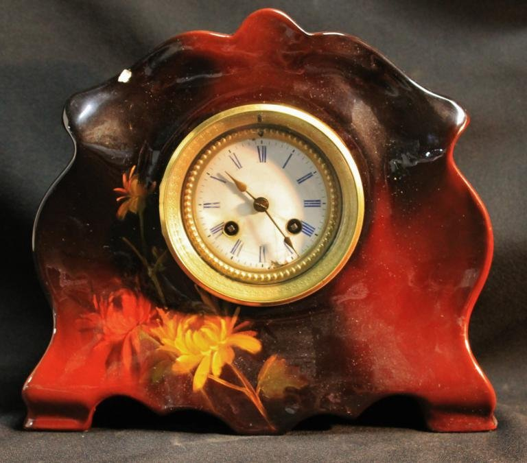 3: Signed Weller hand painted porcelain clock age flake