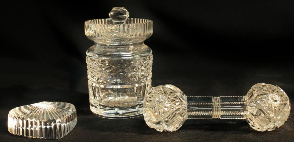 6: Waterford covered jam pot, heart paper weight, cut c