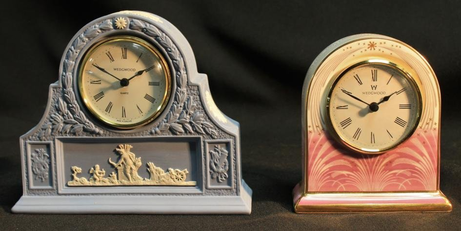 7: Wedgwood porcelain desk clock along with a hand pain