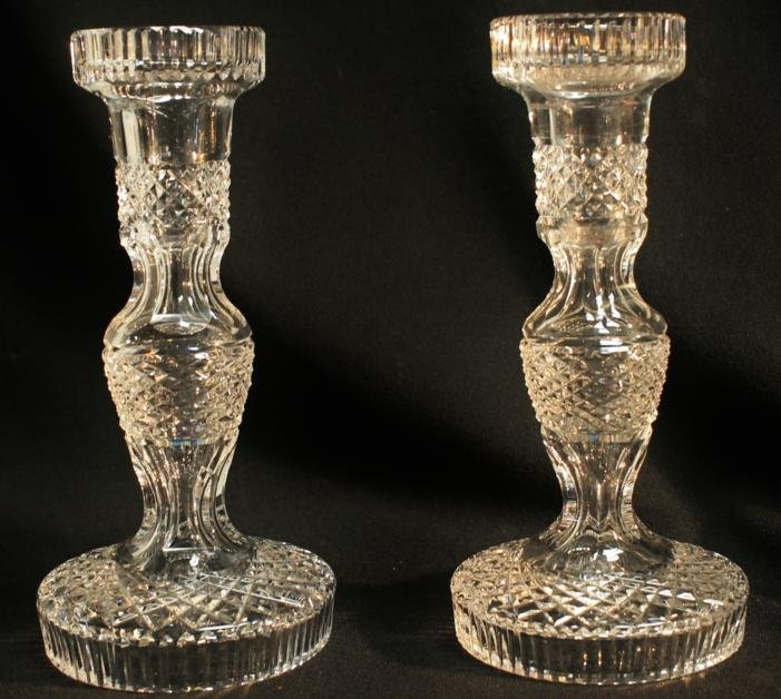 16: Pair of Waterford crystal cut candlesticks