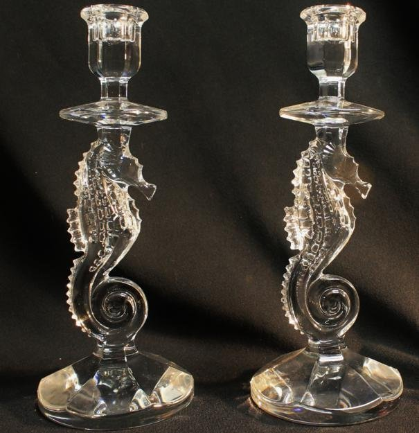 18: Rare pair of Waterford seahorse candlesticks