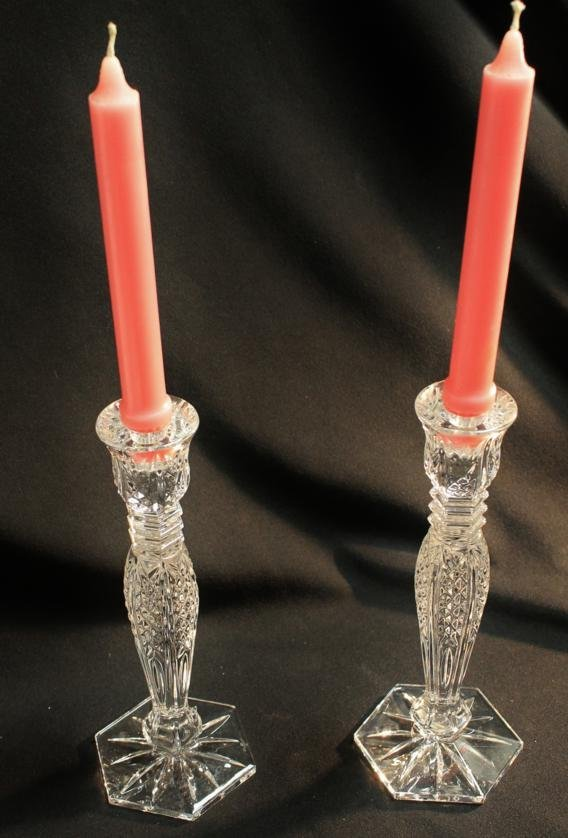 20: Pair of Waterford crystal cut candlesticks