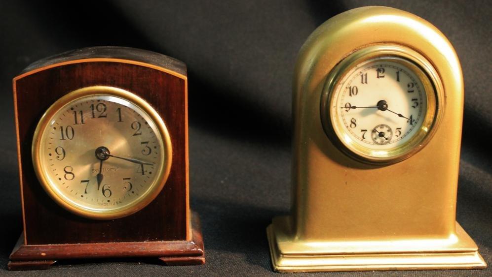 21: Mahogany and string inlaid desk clock by Seth Thoma